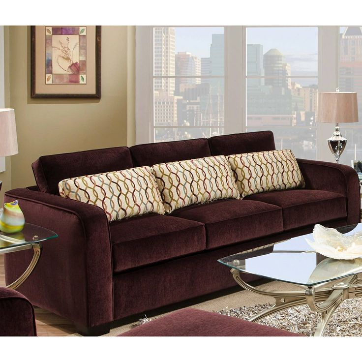 Living Spaces Tracking : Simmons Beautyrest Venice Eggplant Sofa  Eggplant Color ...