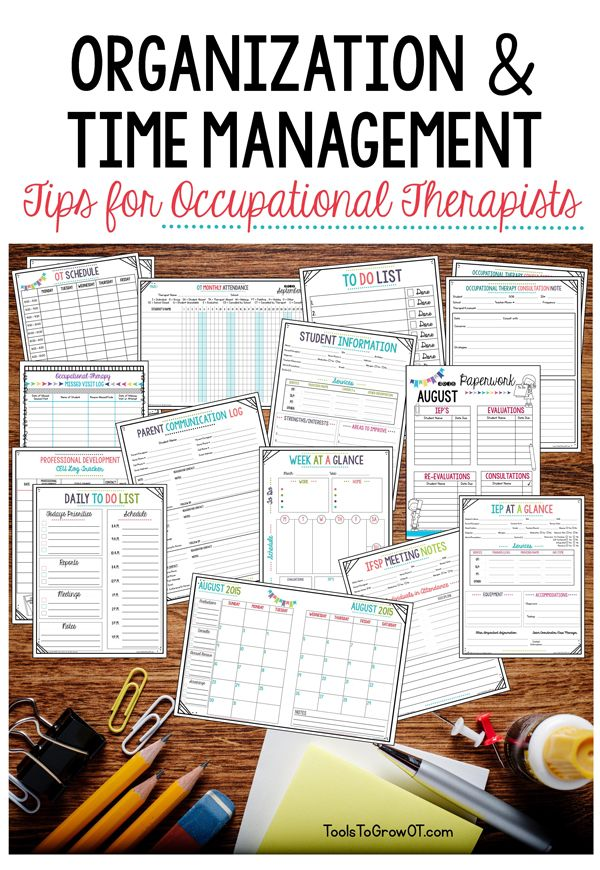 Start the New Year off right!!! Free Resources for organization to keep your therapy items and materials neat, orderly, and accessible; as well as time management tools for prioritizing, scheduling, and completing tasks.