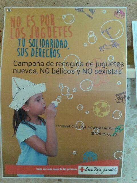 Campaña de Cruz Roja en Las Palmas. Tienes un punto de recogida en la Escuela Oficial de Idiomas de Arucas o llamando al teléfono que aparece en el cartel