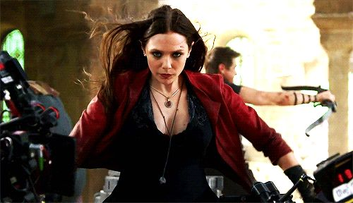 Feel the intensity of the Scarlet Witch (Elizabeth Olsen) in the Avengers Age of Ultron via GIPHY.