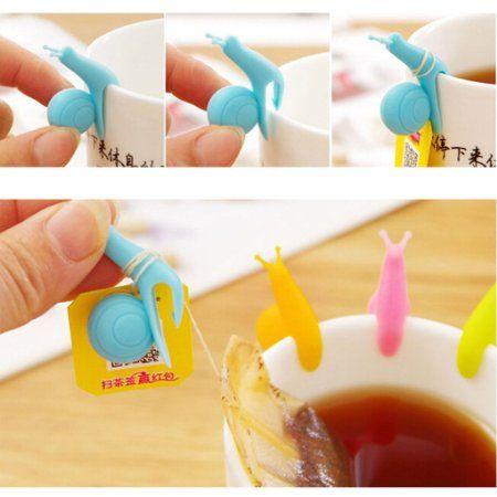 HuntGold 5 Stück Schnecke Form Silikon Teebeutel Halter Tasse Süßigkeit-Farben-Geschenk-Set Teekocher: Amazon.de: Küche & Haushalt