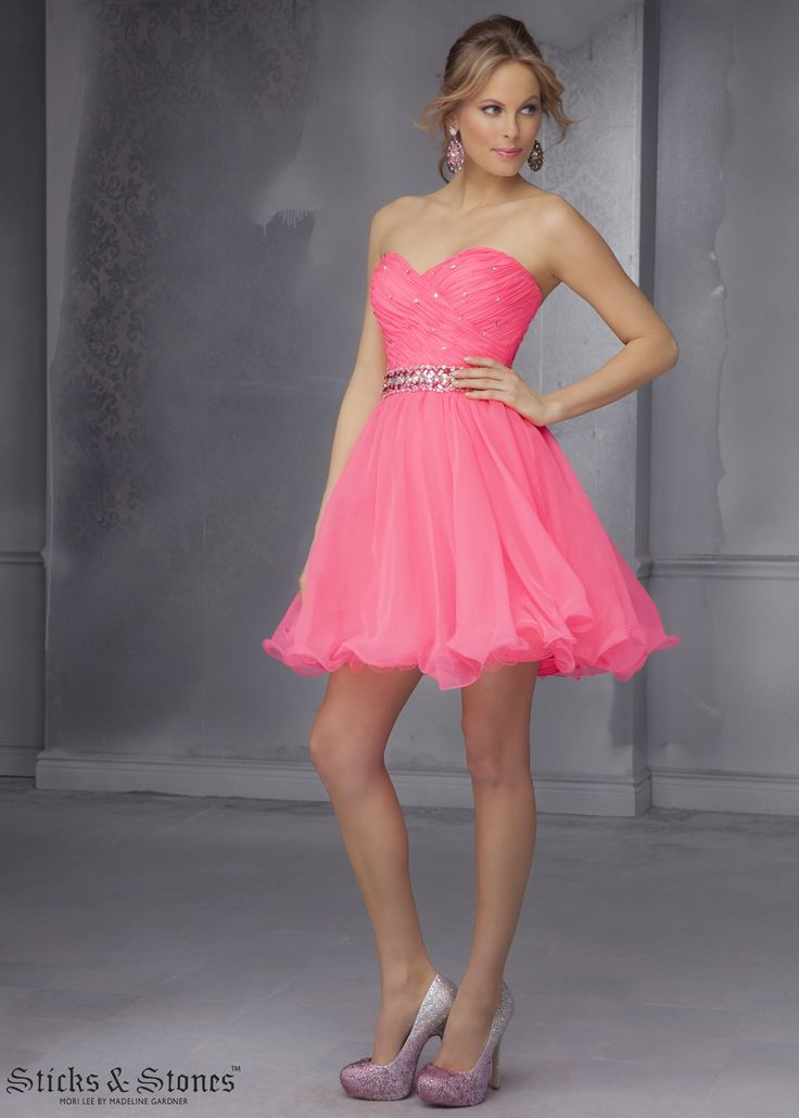 Sticks & Stones by Mori Lee 9281 Hot Neon Pink Party Dress - Homecoming - Prom - Sweet 16 - VIP - Damas - RissyRoos.com