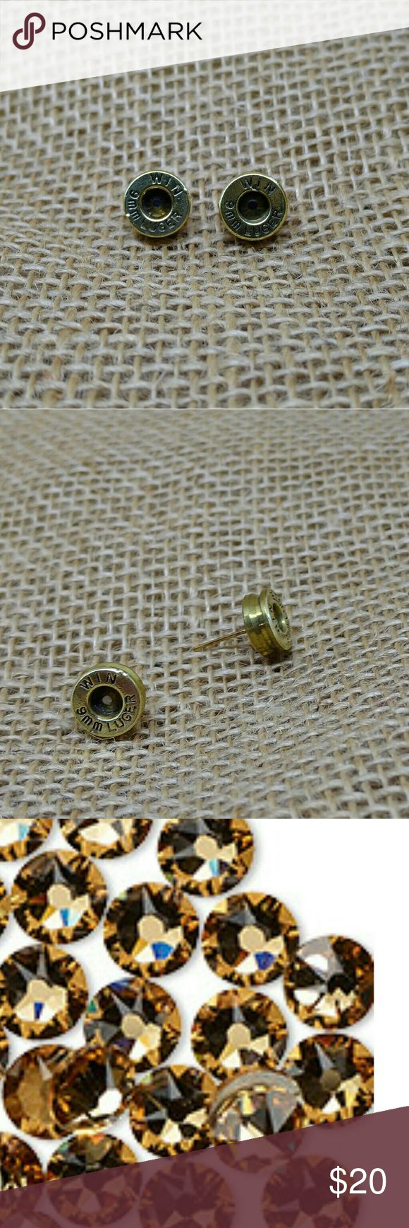 Bullet Stud Earrings 9 mm Earrings made from real 9 mm bullet casings.  Thick cut, cleaned and polished.  Colorado topaz Swarovski crystal centers (see last picture for color).  Hypoallergenic nickel-free studs, they come with wide earring backings.  Handmade by me.    Bullet Earrings Ammunition Jewelry Ammo Earrings Recycled Upcycled Handmade Jewelry Earrings