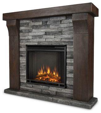 Avondale Gray Ledgestone Electric Firebox & Mantel - modern - fireplaces - Shop Chimney