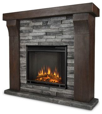 Avondale Gray Ledgestone Electric Firebox & Mantel - modern - fireplaces - Shop Chimney