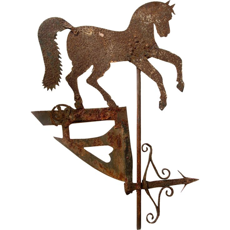 <strong>Rare Weather Vane Pennant with Prancing Horse</strong>  Very fine example of a metal Weather Vane with Prancing Horse Pennant set above the weather pointer.   Coming from the south of France, and made by a local artisan-blacksmith , the vane dates between 1840- 1880.  A genuine and very collectible example of naive or folk art by an unknown local craftsman.  Measures 33 inches high x 23 wide.   In obviously worn though stable condition with surface rust.