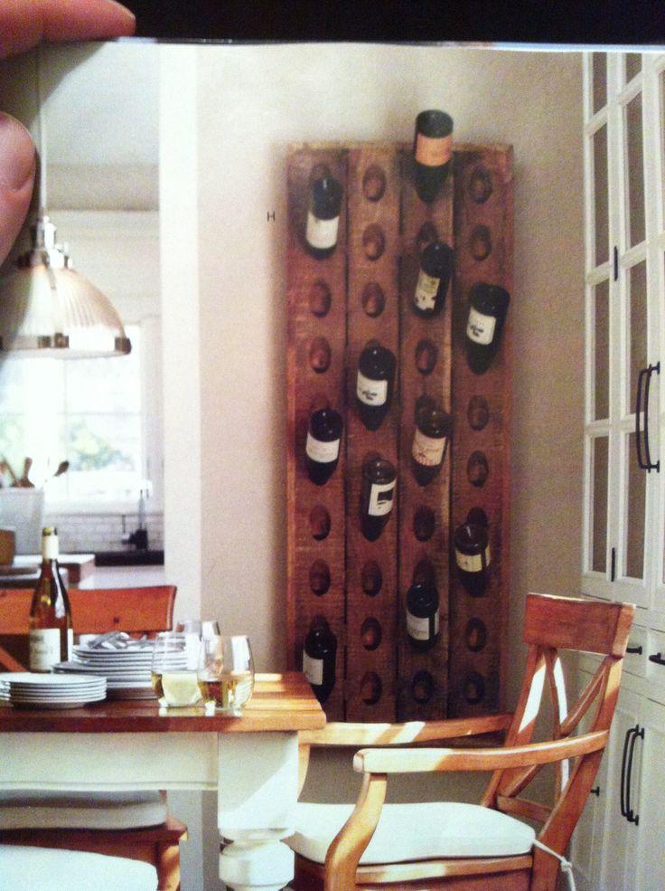Pottery barn wine rack dream kitchen pinterest for Pottery barn wine rack wood