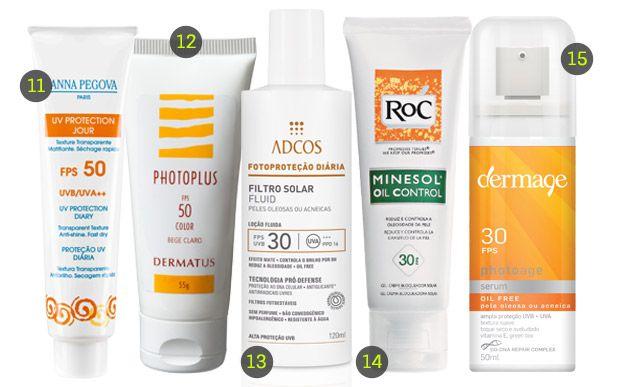 Uma seleção de protetores solares para quem tem pele oleosa 11. UV Protection Jour, Anna Pegova (R$ 102*); 12. Photoplus, Dermatus (R$ 148,80*); 13. Filtro Solar Fluid Peles Oleosas e Acneicas, Adcos (R$ 89*); 14. Minesol, Roc (R$ 62,90*); 15. Photoage Serum, Dermage (R$ 67,70*).