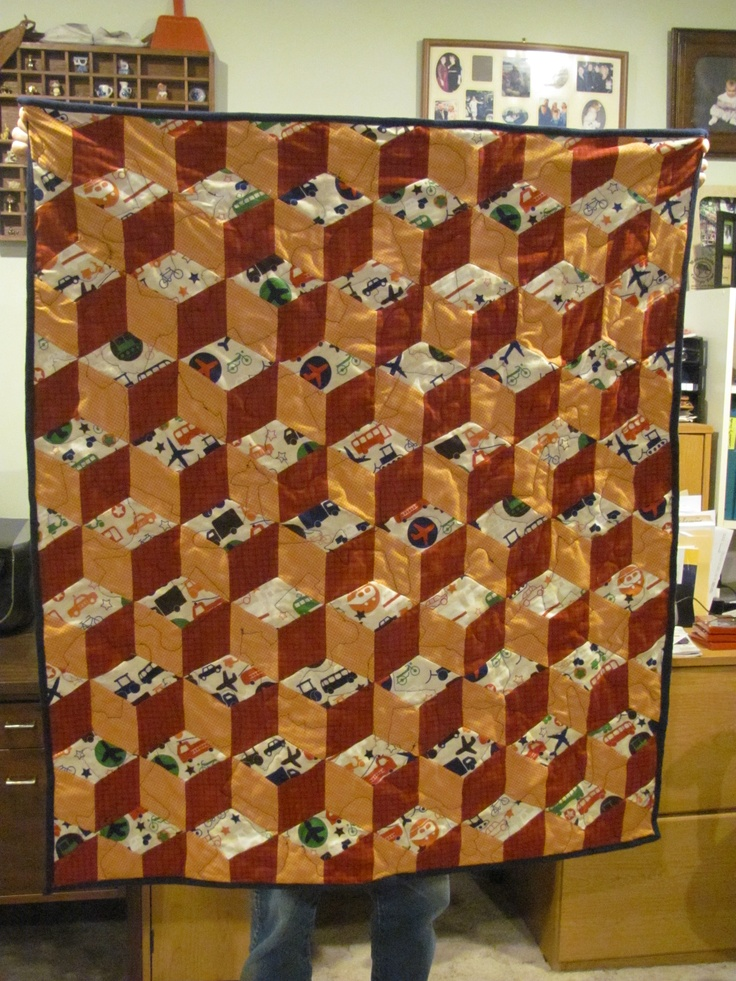Example: Large Baby Quilt - Tumbling Blocks.  Choose your colors. $115.00   Plus Handling and Shipping  marilynpearson2@gmail.com