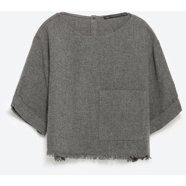Zara Frayed Top ($30) ❤ liked on Polyvore featuring tops, haut, short sleeve, dark grey, zara top et short sleeve tops