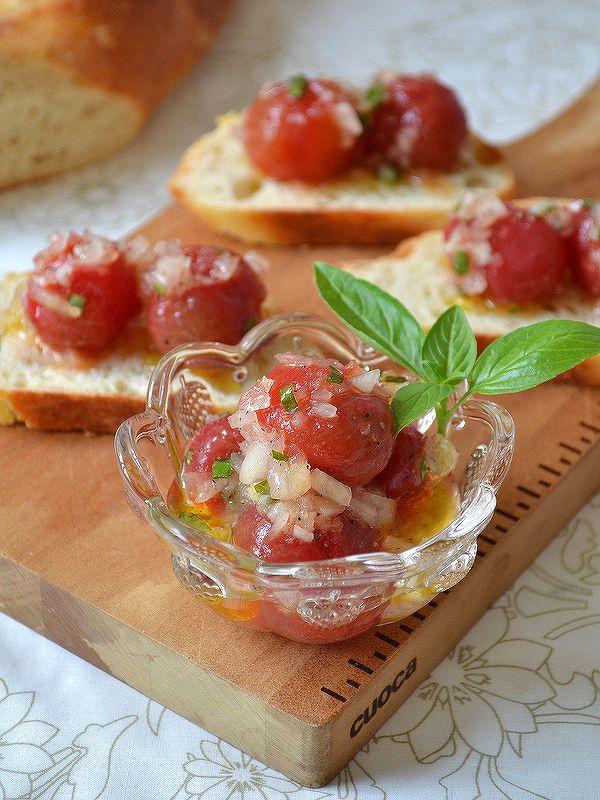マリネ、ラップサラダ、豪華に見える具(蟹缶) *カクテルグラスや小さなカップに入れて並べるとパーティー感もアップ!