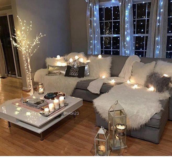 White sectional mood lighting in the living room