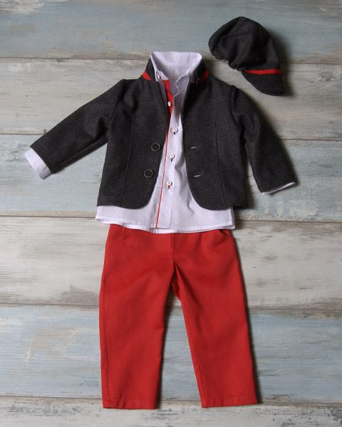 Wool grey jacket with red neck detail and leather, matching cap, shirt with red line and red capartine pants