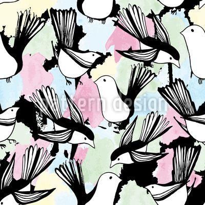 Im Vogel Bad - Einfach wunderbar! Handgezeichnete Vögel baden in Wasserfarben.