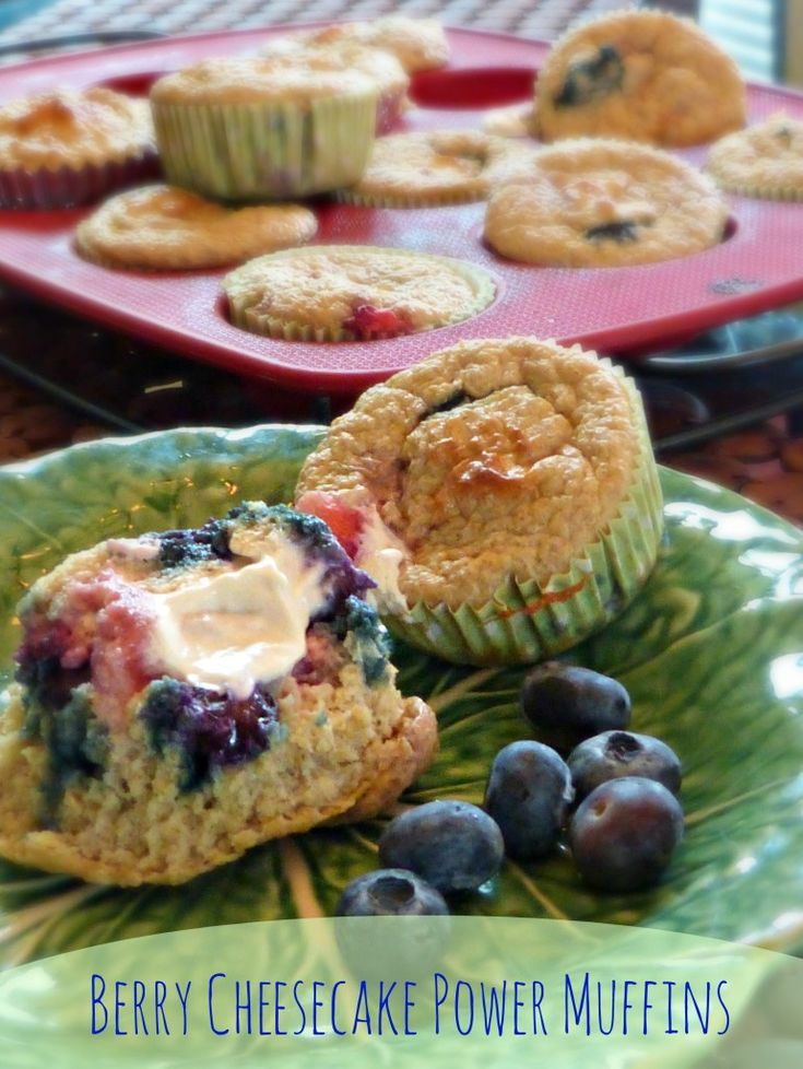 Berry Cheesecake Power Muffins offers more than 8 grams of protein and less than two grams of fat – all for about 100 calories per muffin. | @Jennifer Fisher #fitfluential