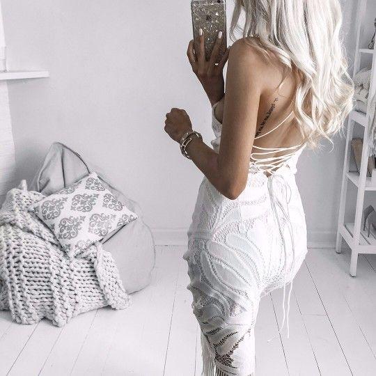 Sotris White Lace Midi Dress
