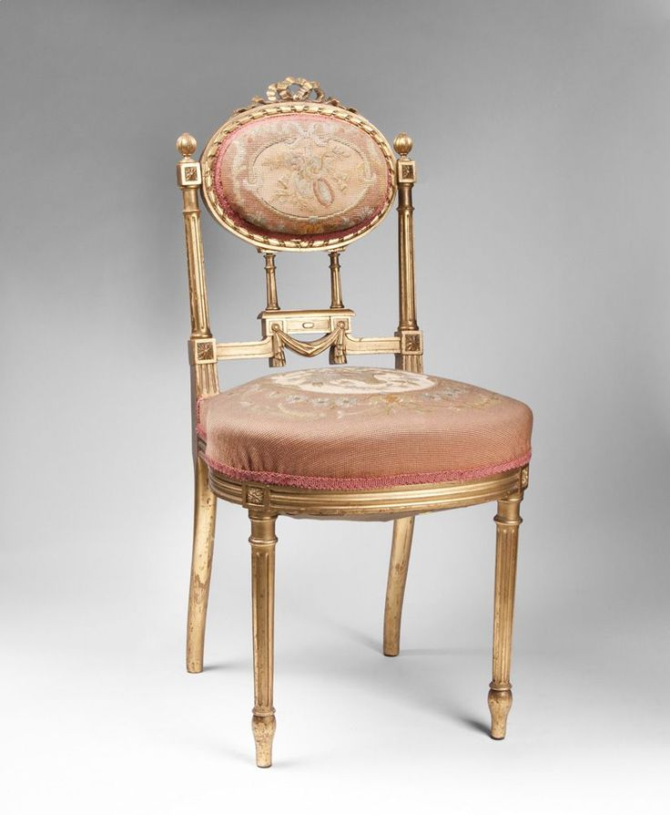 French Louis Xvi Ladies Chair Hand Painted Giltwood