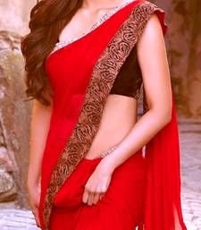 Buy Red  embroidered georgette saree with blouse other-actress-saree online
