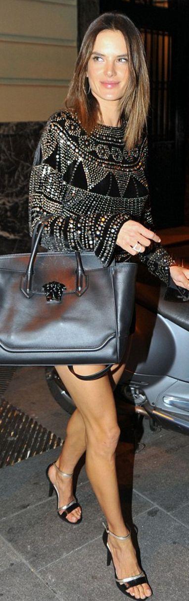 Alessandra Ambrosio: Shirt -Naeem Khan  Purse – Versace  Shoes – Xti Footwear