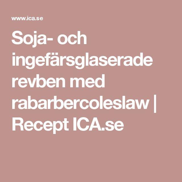 Soja- och ingefärsglaserade revben med rabarbercoleslaw   Recept ICA.se