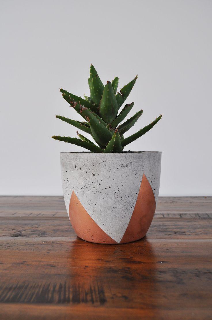 Concrete copper planter pot hand painted concrete planter
