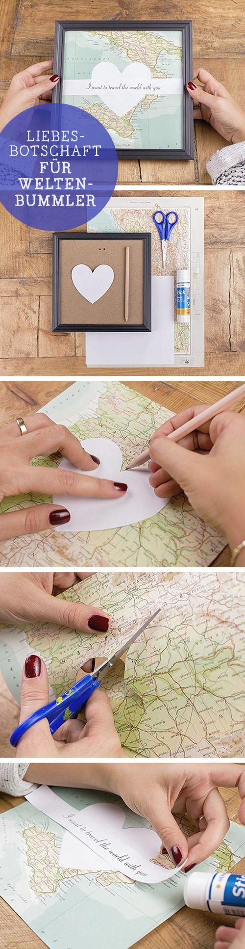 DIY Geburtstagsgeschenk: Liebesbotschaft für Weltenbummler, Landkarte / diy tutorial: gift idea for traveller, vacation, map via DaWanda.com