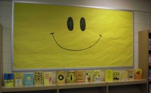 """Books to Make You Smile"" -- or again, displays for a certain color block..."