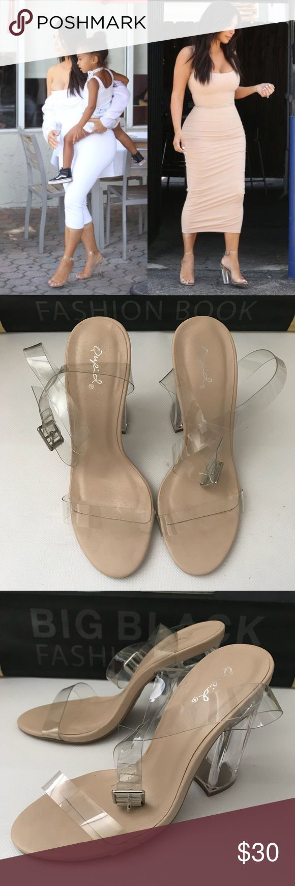 Clear High Heels Fashion Shoes Size 7. Used once Qupid Shoes Heels