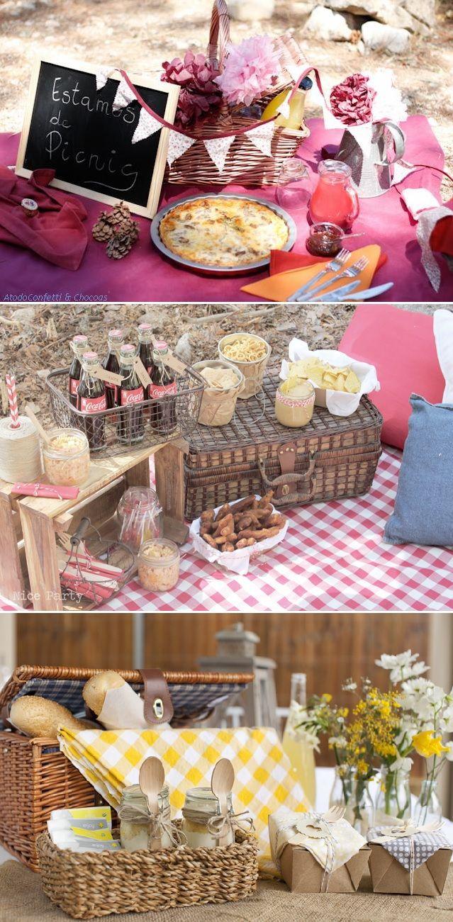 Canastas de comida en fiestas de picnic.