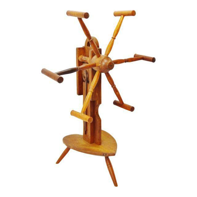 Early Primitive Wooden Yarn Spinner Yarn Winder