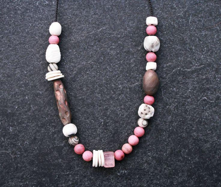 Spring Moon ceramic beaded necklace/ handmade porcelain/ Raku/ pit fired beads/ Jasper/ Rose Quartz/ ethnic/ boho/ tribal/ art beads/ OOAK by CopperLarkStudio on Etsy