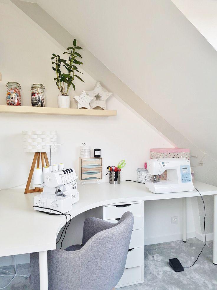 Atelier couture rangements ikea tissus cocooning cosy bureau
