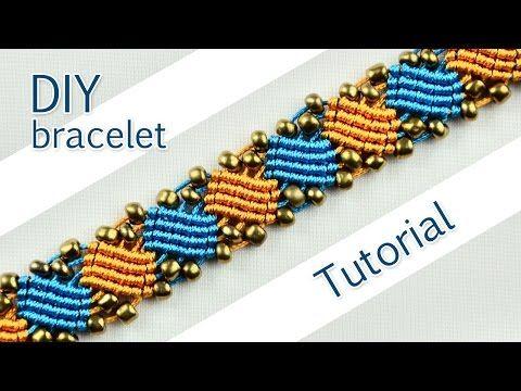 M Macramé Square Wave Bracelet with Beads - YouTube