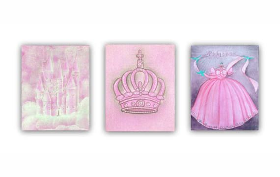 Princess Nursery Royal Crown Castle Wall Art Cinderella