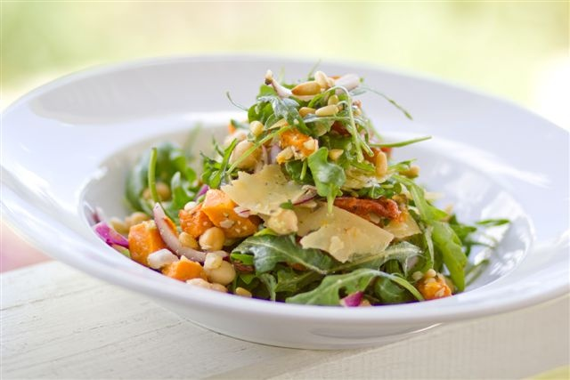 Honey-roasted Pumpkin, Semidried Tomato, Pine Nut, Chickpea, Parmesan and Rocket Salad with Pesto Dressing.