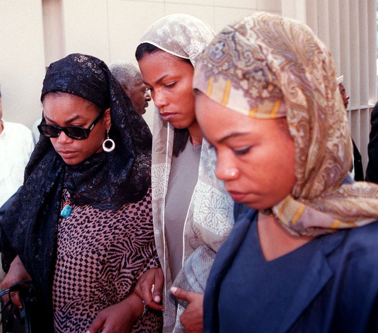 Three of the Daughters Of Betty Shabazz & Malcom X: twins Malikah, Malaak, and Qubilah Shabazz. attend funeral of their mother, 1997, Islamic Cultural Center in New York.