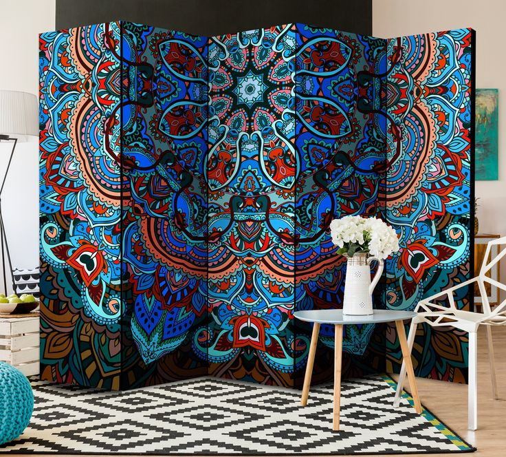 """Folding screen / room divider """"Blue Fantasy"""" is beaufitul example how one accessorie can change whole interior design!"""