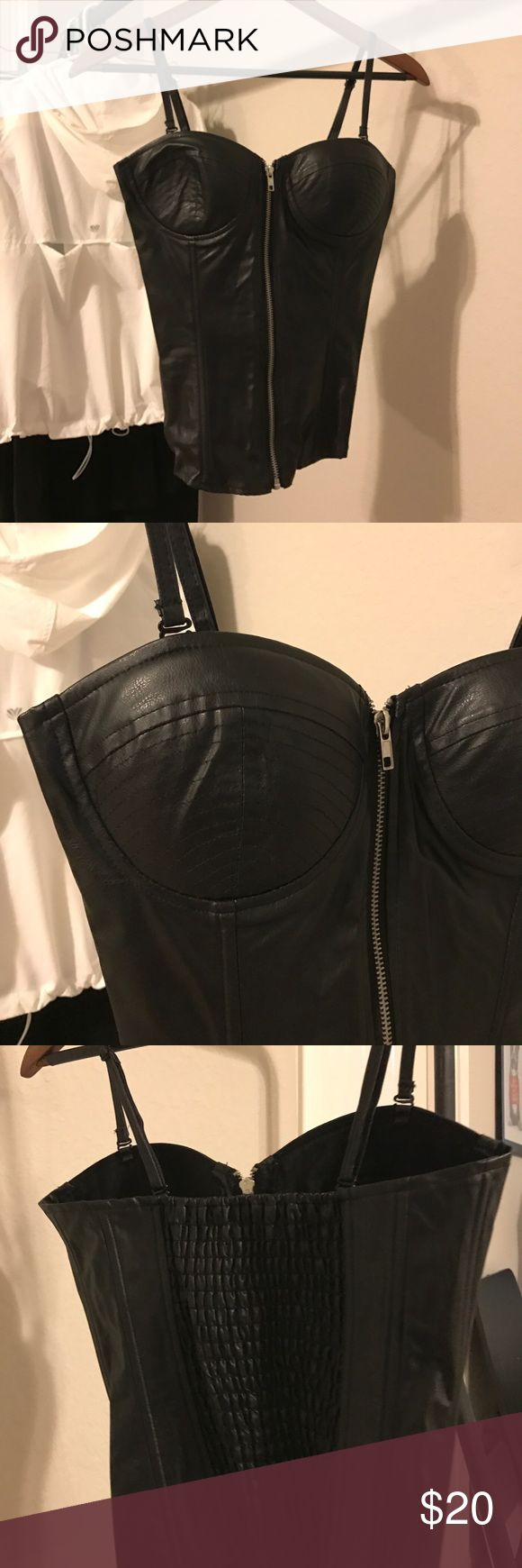 Sexy Leather Corset Blouse Never worn. A sexy staple to add to your wardrobe! Tops