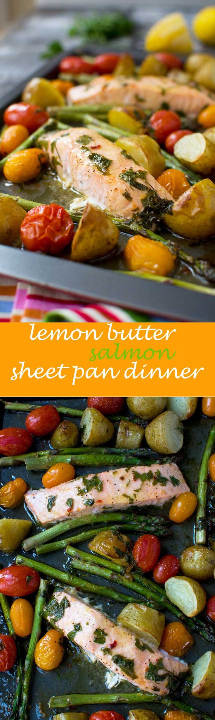 Lemon butter sheet pan salmon with asparagus and potatoes