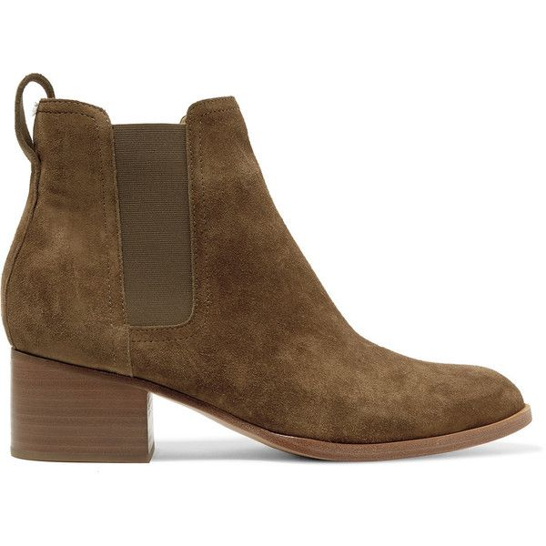 rag & bone Walker suede ankle boots ($235) ❤ liked on Polyvore featuring shoes, boots, ankle booties, army green, pull on ankle boots, suede ankle boots, slip on ankle boots, short suede boots and olive green ankle boots