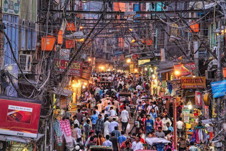 DELHI - Chandi chowk market , old Delhi - ribbon, jewels, oils, everything you…
