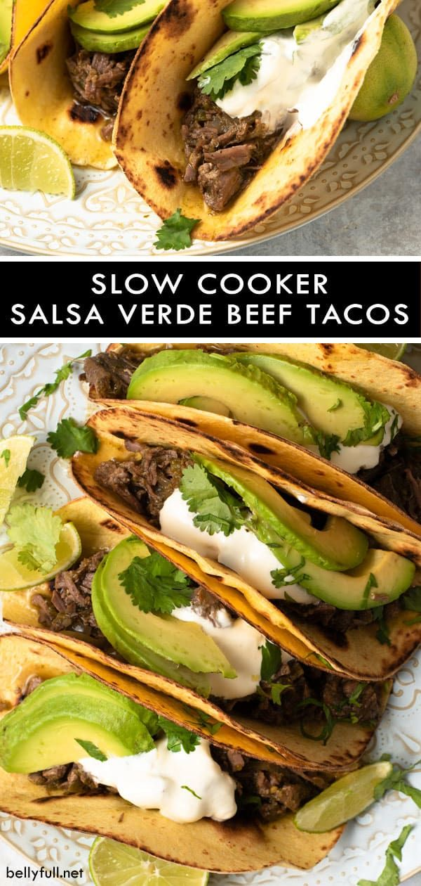 For these Slow Cooker Salsa Verde Beef Tacos, meat cooks all day in an awesome t…