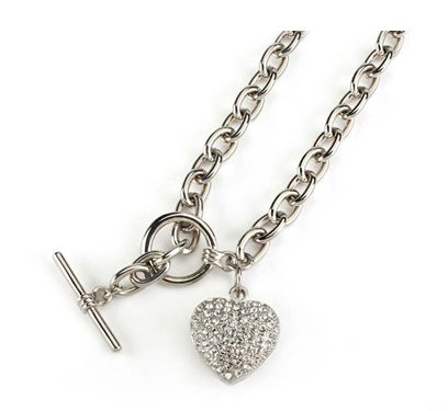 Diamante Necklace. With Diamante studded heart H2cm. Chain size 40.5cm. With T-bar fastening. JUST £14.00.