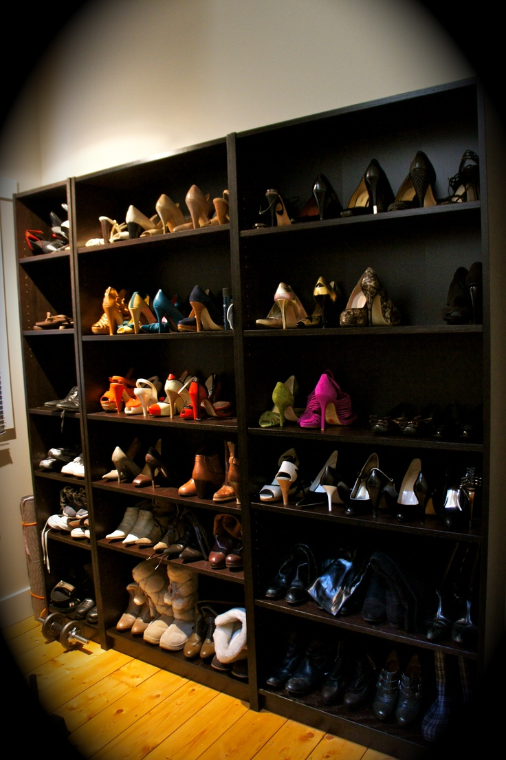 billy bookcases from ikea as shoe storage