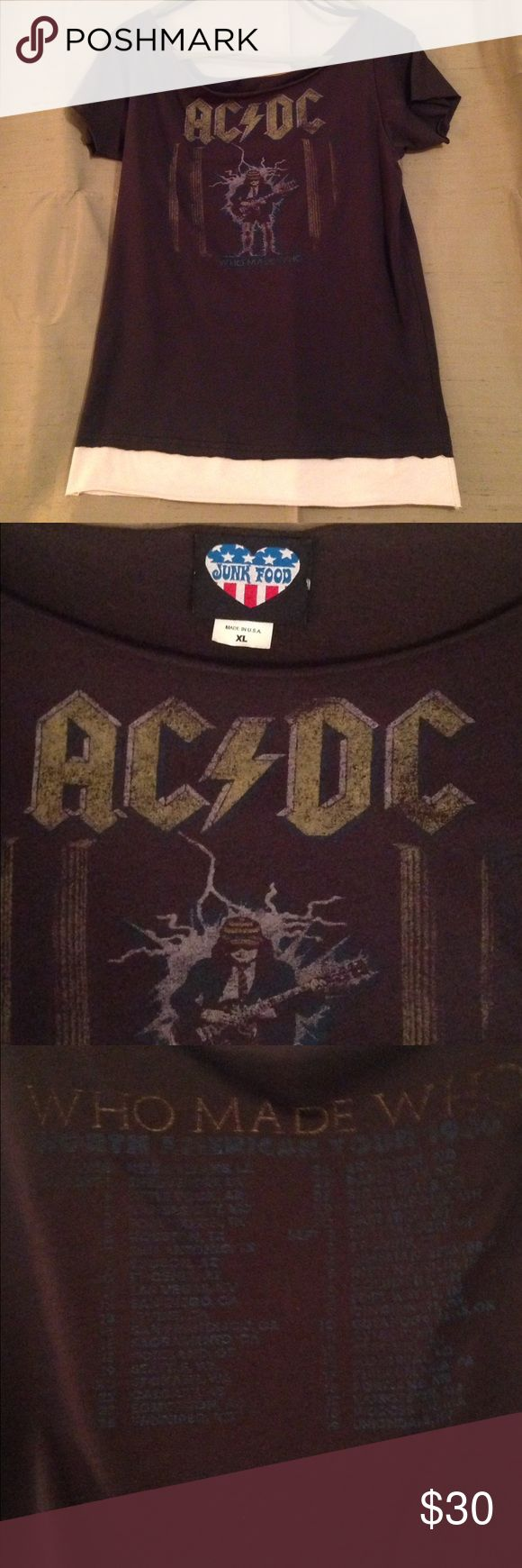 Junk Food AC/DC Tour Vintage Style T-shirt Junk Food AC/DC Tour Vintage Style T-shirt, 'Who Made Who' 1986 tour, Cotton/Poly Blend, large/x large, Like New, worn once in 20 years Junk Food Tops Tees - Short Sleeve