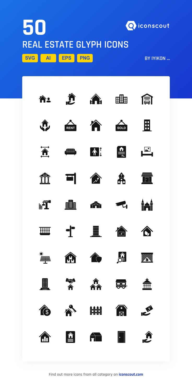 Real Estate Glyph  Icon Pack - 50 Solid Icons