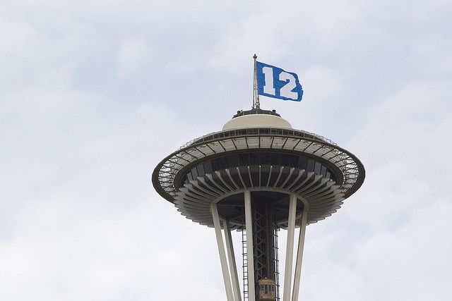 12th man flag on Space NeedleSpaces Needle, Space Needle, Man Flags, 12Th Fans, Fans Spaces, Seattle Seahawkssup, 12Th Man, Sports Fans, Seahawks Suck