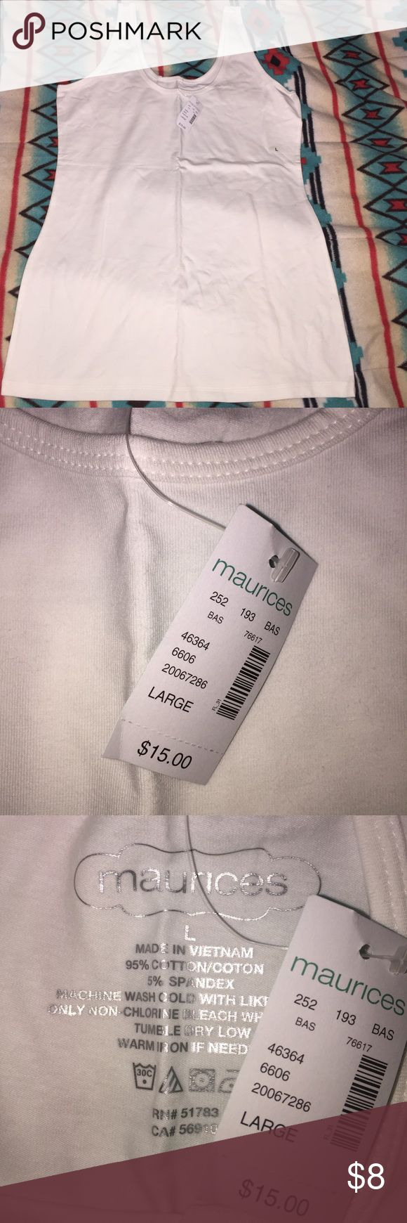 Maurices White Tank Top Maurices White Tank Top in white. Brand new with tags never worn. Maurices Tops Tank Tops