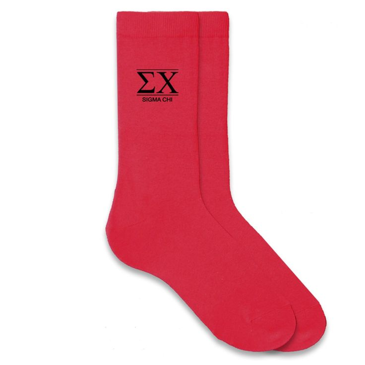 Sigma Chi Fraternity Letters on Men's Dress Socks