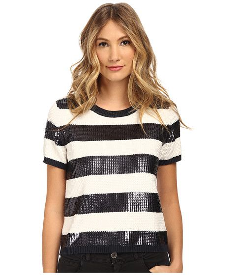 Armani Jeans Armani Jeans  Sequin Stripe Top Indigo Womens Sweater for 155.99 at Im in! #sale #fashion #I'mIn